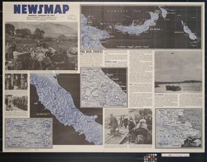 Primary view of object titled 'Newsmap. Monday, January 10, 1944 : week of December 29, 1943 to January 5, 1944, 226th week of the war, 108th week of U.S. participation'.