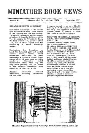 Primary view of object titled 'Miniature Book News # 86: 1995 September'.