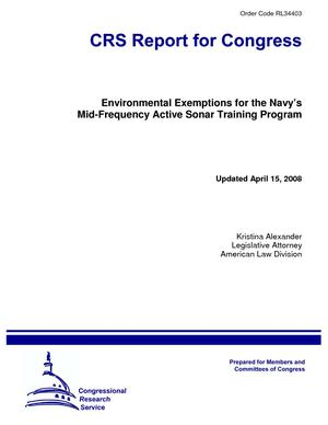 Environmental Exemptions for the Navy's Mid-Frequency Active Sonar Training Program