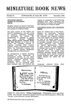Primary view of object titled 'Miniature Book News # 83: 1994 December'.