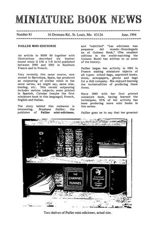 Primary view of object titled 'Miniature Book News # 81: 1994 June'.