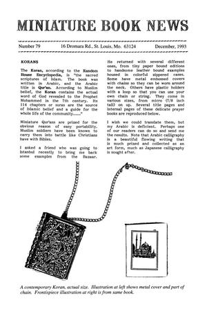 Primary view of object titled 'Miniature Book News # 79: 1993 December'.