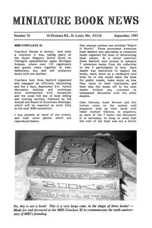 Primary view of object titled 'Miniature Book News # 78: 1993 September'.