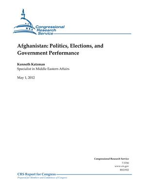 Afghanistan: Politics, Elections, and Government Performance