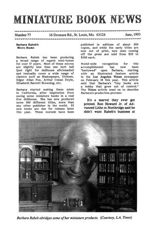 Primary view of object titled 'Miniature Book News # 77: 1993 June'.
