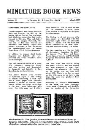 Primary view of object titled 'Miniature Book News # 76: 1993 March'.