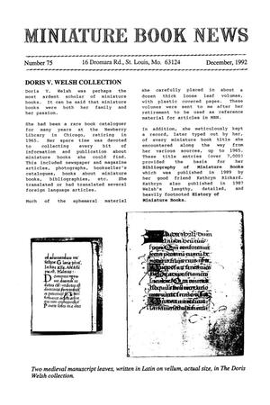 Primary view of object titled 'Miniature Book News # 75: 1992 December'.