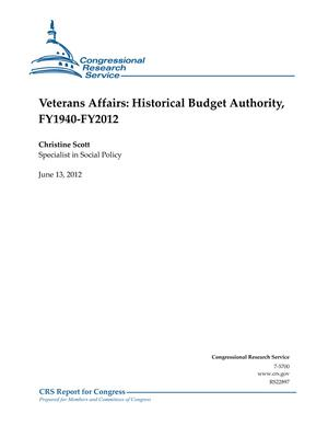 Veterans Affairs: Historical Budget Authority, FY1940-FY2012