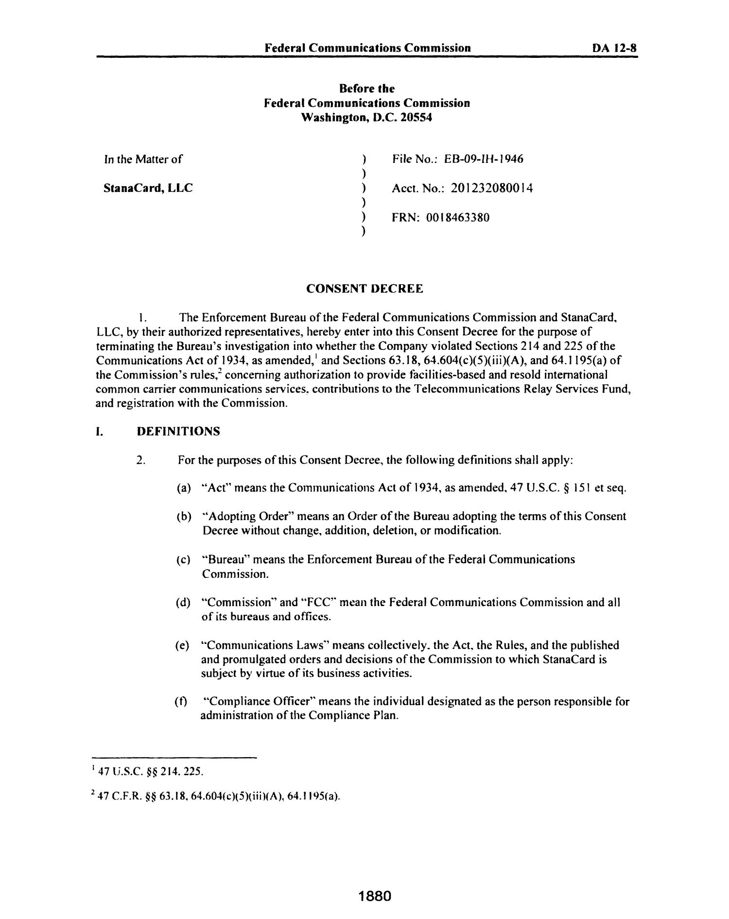 FCC Record, Volume 27, No. 3, Pages 1878 to 2785, February 21 - March 16, 2012                                                                                                      1880