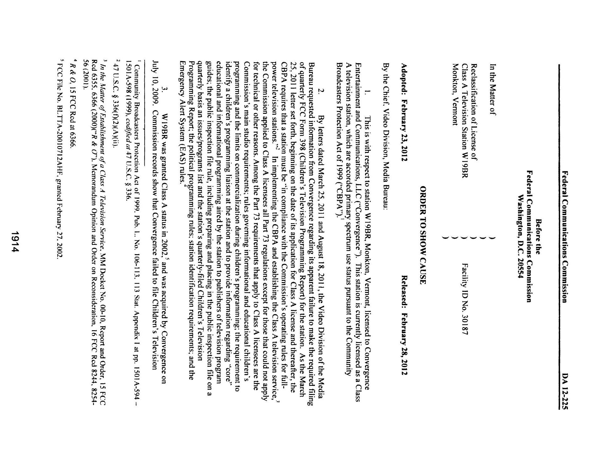 FCC Record, Volume 27, No. 3, Pages 1878 to 2785, February 21 - March 16, 2012                                                                                                      1914