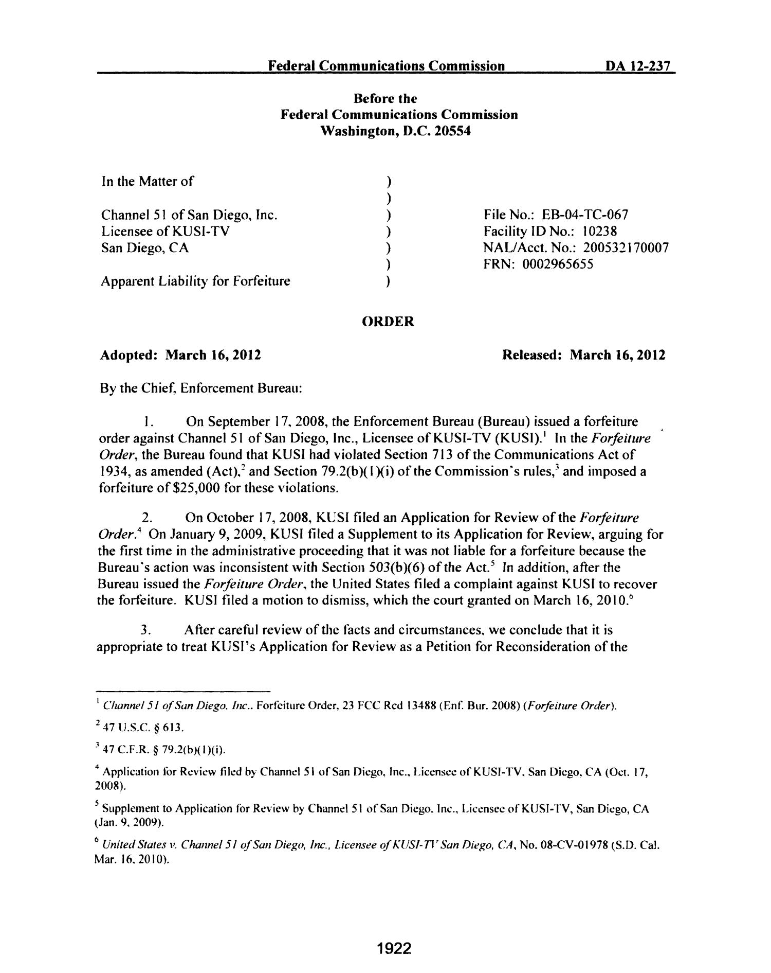 FCC Record, Volume 27, No. 3, Pages 1878 to 2785, February 21 - March 16, 2012                                                                                                      1922