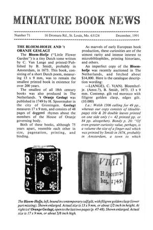 Primary view of object titled 'Miniature Book News # 71: 1991 December'.