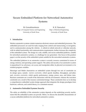 Secure Embedded Platform Networked Automotive Systems