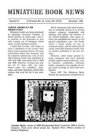 Primary view of object titled 'Miniature Book News # 67: 1990 December'.