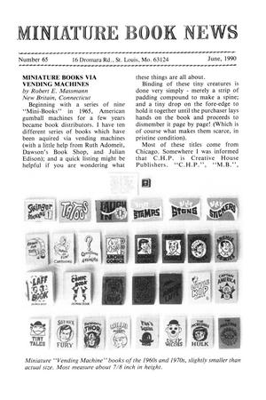 Primary view of object titled 'Miniature Book News # 65: 1990 June'.