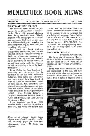Primary view of object titled 'Miniature Book News # 60: 1989 March'.