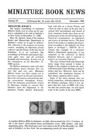 Primary view of object titled 'Miniature Book News # 59: 1988 December'.