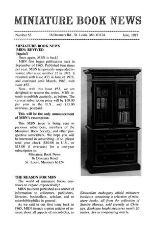 Primary view of object titled 'Miniature Book News # 53: 1987 June'.