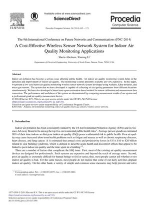 A Cost-Effective Wireless Sensor Network System for Indoor Air Quality Monitoring Applications