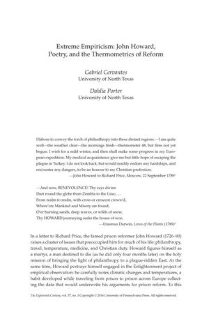 Extreme Empiricism: John Howard, Poetry, and the Thermometrics of Reform