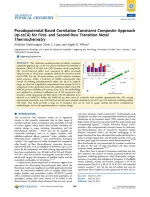 Primary view of object titled 'Pseudopotential-Based Correlation Consistent Composite Approach (rp-ccCA) for First- and Second-Row Transition Metal Thermochemistry'.