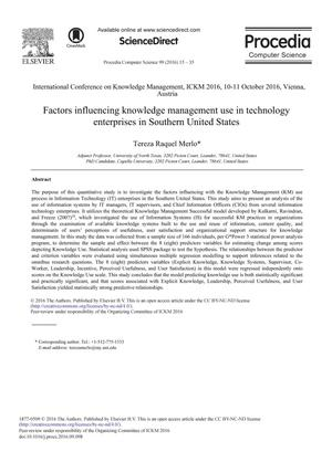 Primary view of Factors Influencing Knowledge Management Use in Technology Enterprises in Southern United States