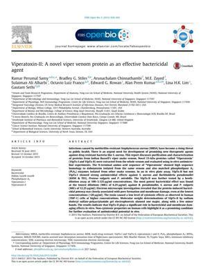 Viperatoxin-II: A novel viper venom protein as an effective bactericidal agent