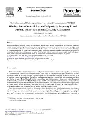 Wireless Sensor Network System Design using Raspberry Pi and Arduino for Environmental Monitoring Applications