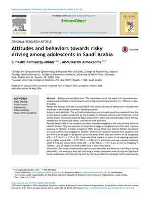Attitudes and behaviors towards risky driving among adolescents in Saudi Arabia