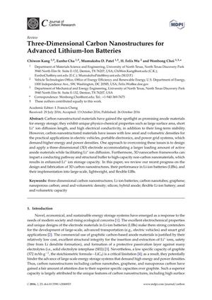 Three-Dimensional Carbon Nanostructures for Advanced Lithium-Ion Batteries