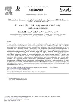 Evaluating player task engagement and arousal using electroencephalography