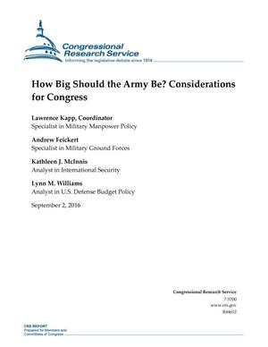 How Big Should the Army Be? Considerations for Congress