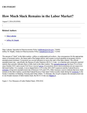 Primary view of object titled 'How Much Slack Remains in the Labor Market?'.