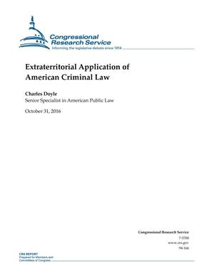 Primary view of object titled 'Extraterritorial Application of American Criminal Law'.