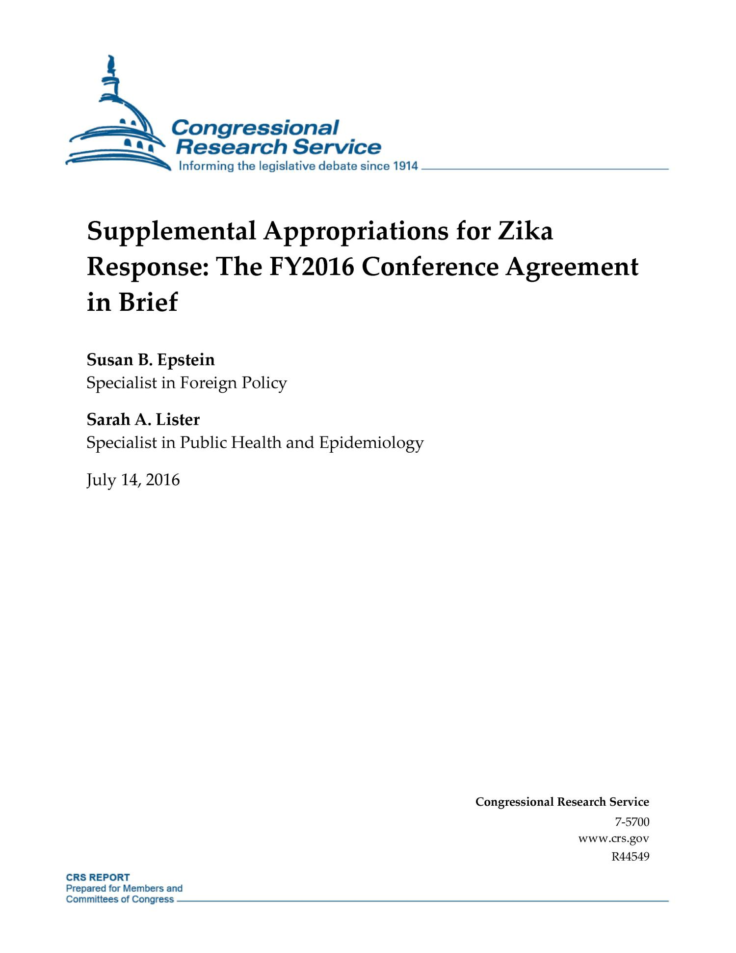 Supplemental Appropriations For Zika Response The Fy2016 Conference