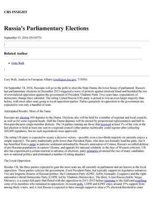 Primary view of object titled 'Russia's Parliamentary Elections'.