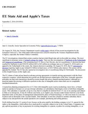 Primary view of object titled 'EU State Aid and Apple's Taxes'.
