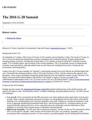 Primary view of object titled 'The 2016 G-20 Summit'.
