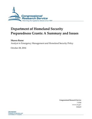 Department of Homeland Security Preparedness Grants: A Summary and Issues