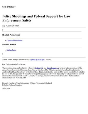 Police Shootings and Federal Support for Law Enforcement Safety