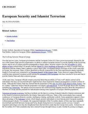 European Security and Islamist Terrorism