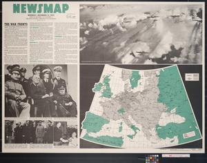 Primary view of object titled 'Newsmap. Monday, December 13, 1943 : week of December 2 to December 9, 222nd week of the war, 104th week of U.S. participation'.