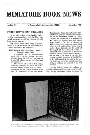 Primary view of object titled 'Miniature Book News # 13: 1968 September'.
