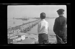 Primary view of object titled '[Byrd III and his brother John Williams overlook a pier]'.