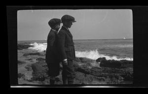 Primary view of object titled '[John and Byrd III at the beach]'.