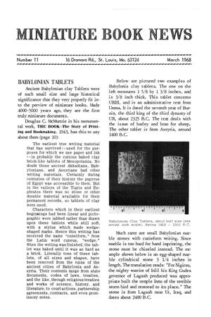 Primary view of object titled 'Miniature Book News # 11: 1968 March'.