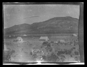 Primary view of object titled '[Photo of a camp in a desert]'.