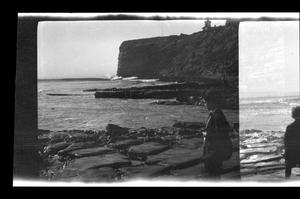 Primary view of object titled '[A Williams boy stands in front of Point Fermin]'.