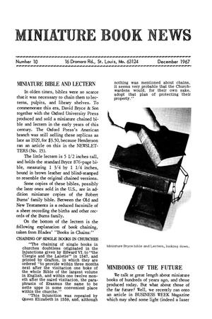 Primary view of object titled 'Miniature Book News # 10: 1967 December'.