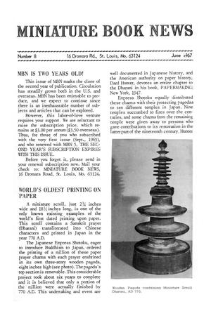 Primary view of object titled 'Miniature Book News #  8: June 1967'.